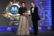 Iconic film star RAVEEN TANDON is inducted into 'Power Brands Hall of Fame 2018_ while receiving the title of 'Bollywood Power Brands 2018_